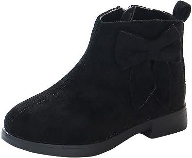 La Vogue Kids Girls Sweet Bowknot Suede Block Heel Ankle Boot School Casual  Fleece Lined Zip Short Boot Martin Boots