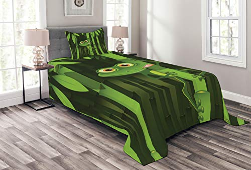 Ambesonne Animal Bedspread, Funny Illustration of Friendly Fun Frog on Stem of The Bamboo Jungle Trees Nature, Decorative Quilted 2 Piece Coverlet Set with Pillow Sham, Twin Size, Green Shades