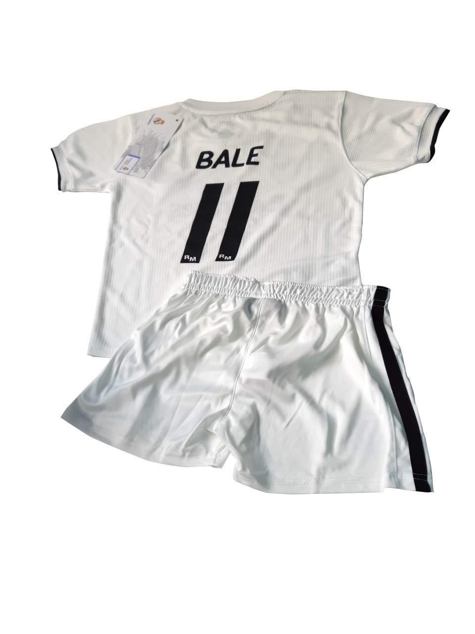 T-Shirt und Hose Set 1. Gang von Real Madrid 2018-2019 - Offizielle Replik Lizenziert - Rücker Bale - Kinder Größe 10 Jahre - Messungen Truhe 43.5 - Gesamtlänge 59 - Langarm 16 cm.