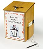 FixtureDisplays 10.1'' x 13.9'' x 9.5'' Wooden Ballot Box w/ Sign Holder, Side Pocket, Pen & Lock, Wall or Counter - Oak 19254-NF