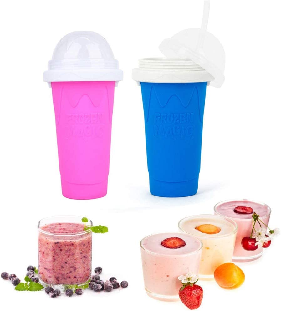 2PCS Slushy Maker Ice Cup, Magic Quick Frozen Smoothies Cup Cooling Cup Double Layer Squeeze Cup Slushie Maker, Homemade Milk Shake Ice Cream Maker DIY it for Children and Family,Blue,Rose red