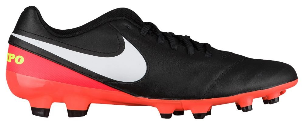 [ナイキ] Nike Tiempo Genio II Leather FG - メンズ サッカー [並行輸入品] B072PTL4PN US07.5 Black/White/Hyper Orange/Volt