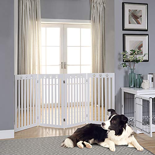 unipaws Dog Gate with Paw Deco Design, Assembly Free Pet Gate, Sturdy Wooden Structure Baby Gate, Foldable Design for Indoor Use, White