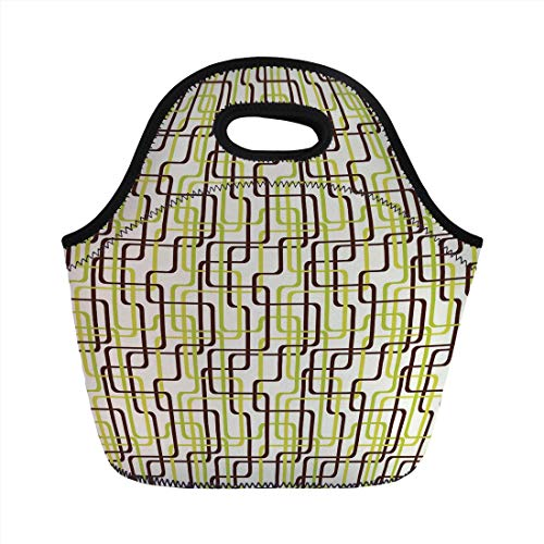 Portable Lunch Bag,Geometric,Sixties Fashion Inspired Intertwined Lines Stylish Shapes Decorative,Chestnut Brown Apple Green Cream,for Kids Adult Thermal Insulated Tote Bags -