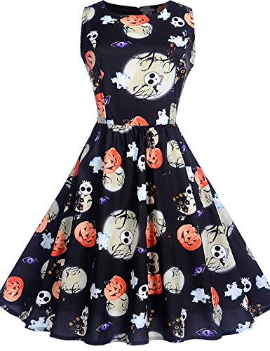 GreaSmart Halloween Dress, B-sleeveless Pumpkin Dress, X-Large(fits like US 12-14) ()