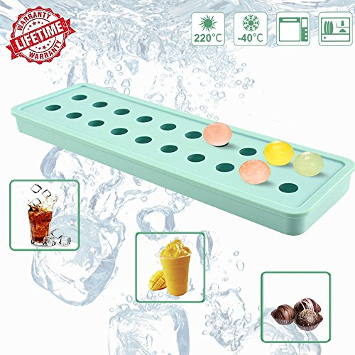 Silicone Ice Cube Moulds,IC ICLOVER Easy-Pop Mini 20 Cavities DIY Ice Trays Sphere Round Ball Maker for Cocktails Whiskey Particles & Soap, Candy Pudding Jelly Milk Juice Molds,Mother's Day Gift