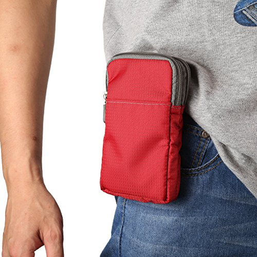 "Price comparison product image Cell Phone Belt Clip Holster, Moon mood 6.0"" Large Men's Waist Belt Bag Dual Layer Zipper Cross-body Sholder Pouch Mobile Phone Wallet Purse Case Travel Bags for iPhone X, Samsung S9/S8, Sony - Red"
