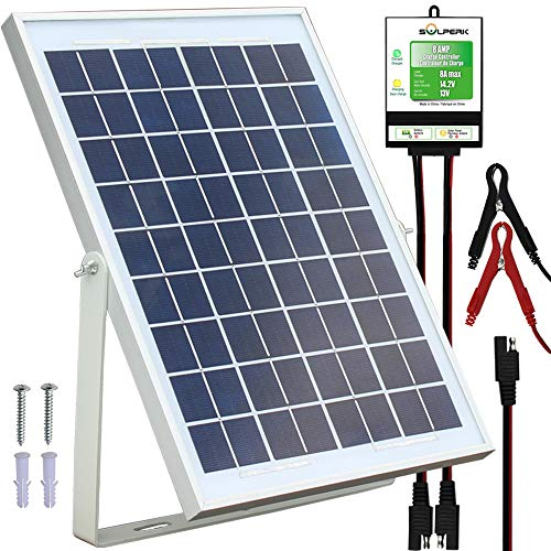 SOLPERK 10W Solar Panel,12V Solar Panel Charger Kit+8A Controller,Suitable for Automotive, Motorcycle, Boat, ATV, Marine, RV, Trailer, Powersports, Snowmobile etc. Various 12V Batteries. (10W Solar) (12v Charger Panel Solar Battery)