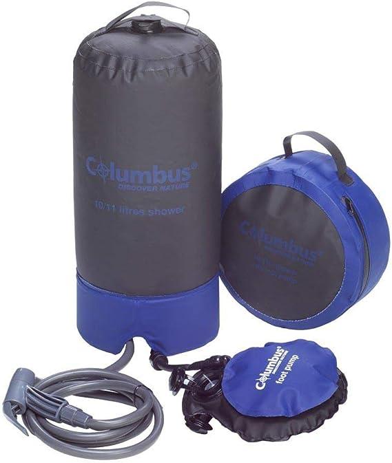 COLUMBUS Ducha Camp Shower | Ducha Portátil de Camping con Bomba de Pie y Agua a Presión. Resistente, Ligera y Compacta con Capacidad para 11 litros - ...