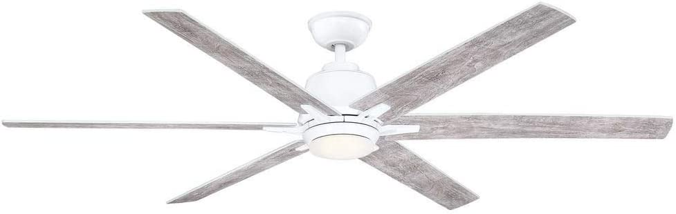Home Decorators Collection YG493B-WH Kensgrove Modern Ceiling Fan Indoor Outdoor Sleek White Led Light Remote Control