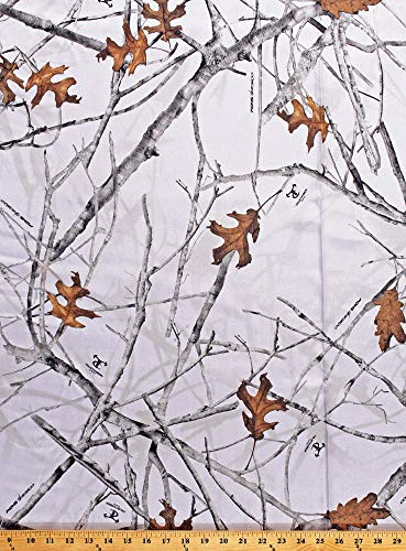 Satin True Timber Conceal Snow Bridal Camo Camouflage White Fabric -