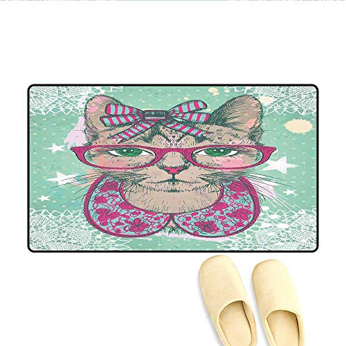 Doormat Fashion Cat in Hipster Glasses and Lace Collarette Bow Vintage Humorous Graphic Floor Mat Bath Mat for Tub Pink Mint Green 20