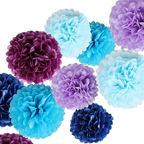 light blue pom pom decorations - 5