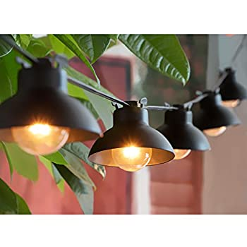 15ft Outdoor Patio String Lights with 15 Clear G40 Bulbs and 15 Vintage Metal Lamp Shades, Create a Bistro Decor for Cafe Backyard Garden Porches Deck Market Pergola Garden, Black