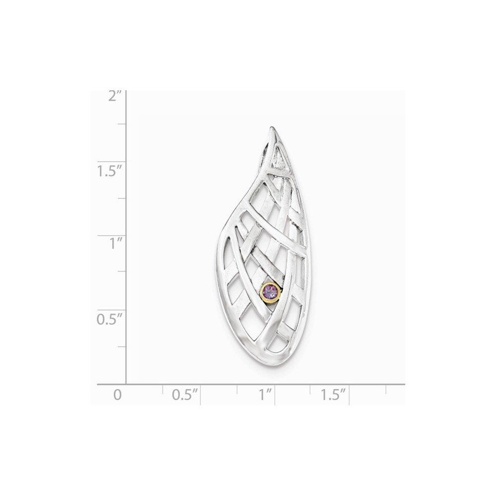 Yellow Sterling Silver Jewelry Pendants /& Charms 9k Accent AM Teardrop CriCross Slide Pendant