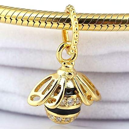 55e09c47d75df Amazon.com: Pukido New 925 Sterling Silver Bead Charm Black Enamel ...