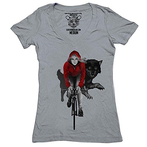 [Clockwork Gears Women's Red Riding Hood Cycling T-Shirt, Grey, X-Large] (Bicycle Womens T-shirt)