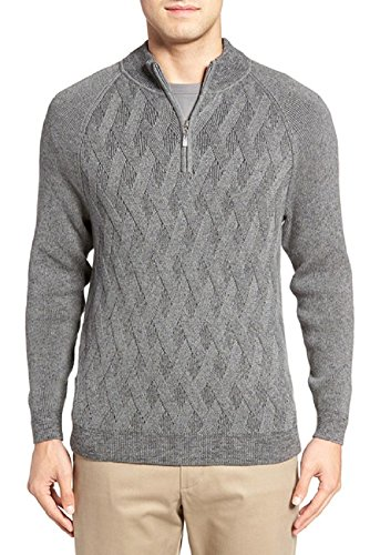 Tommy Bahama Ocean Crest Half Zip Cable Knit Sweater (Color Charcoal, Size L) (Cable Half Zip Sweater)