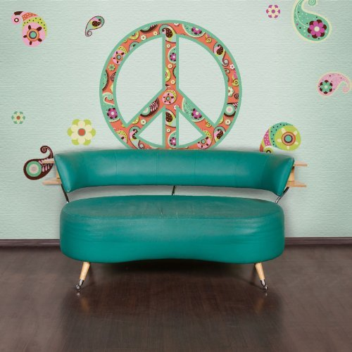 My Wonderful Walls Paisley Peace Sign Wall Sticker Decal Kit, Peel and Stick and Removable, Multicolored