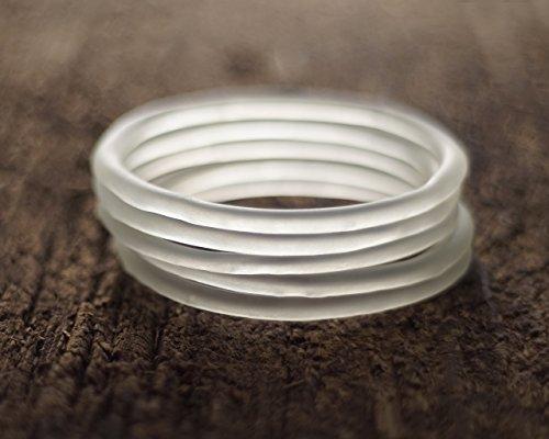 Recycled Cruzan Bottle Bangle - Rum Bottle Stackable Bracelet - Matte White Sea (Recycled Glass Bracelet)