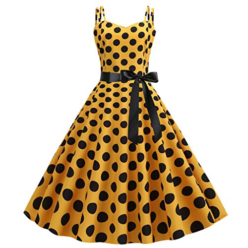 (Women Vintage Rockabilly Prom Dresses Sleeveless Polka Dot Gown Scoop Neck Tie Waist Wedding Club Wear(Yellow, XL))