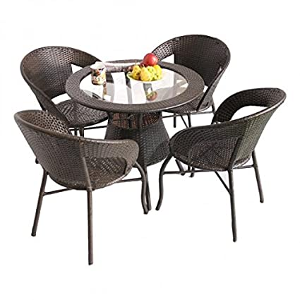 Unique360 Wix Out Door Four Seater Garden Patio Set 1+4 (4 Chairs And Table With Glass Set)