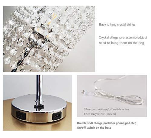Pack of 2 Surpars House Raindrop Crystal Table Lamp with Double USB Charging Port, On/Off Switch on Base,Bedside Lamp Nightstand Lamp, Silver