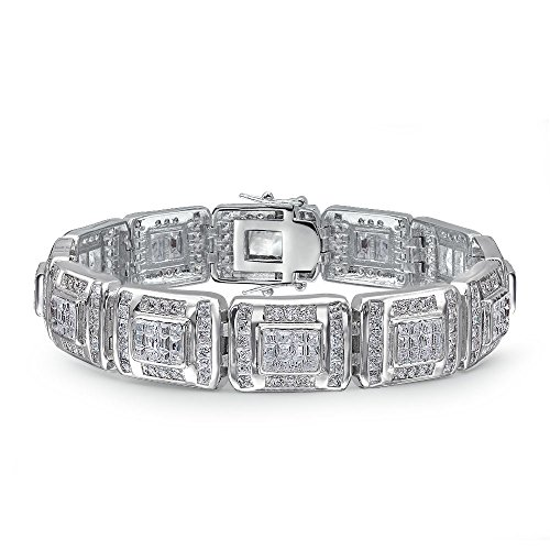 Bling Jewelry Invisible Cut Cubic Zirconia CZ Link Bracelet for Men Rhodium Plated Brass