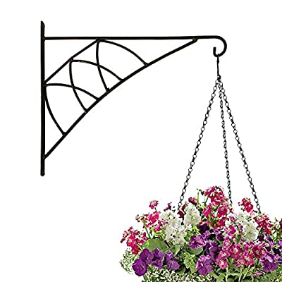 Amagabeli Large 14'' Hanging Plant Hooks Forged Mount Against Door Fence Deck Garage Balcony Outdoor Lawn Iron Bracket For Planters Bird Feeder Lanterns Wind Chimes Plant Pot Basket With Screw