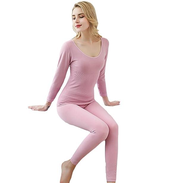 YAANCUN Mujer Sexy Cuello Redondo Conjunto Termico Invierno Chaqueta&pantalones Pijama