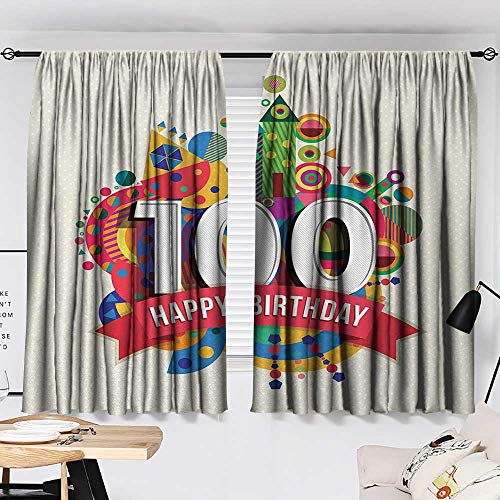 100th Birthday Drapes/Draperies Geometrical Abstract Digital Print with Shapes Castle Boat Birthday Party Curtains,Extra Darkening Curtains Multicolor W55 x L39 by Jinguizi (Image #1)