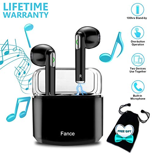 Wireless Earbuds,Bluetooth Earburds Stereo, Wireless Earphones Bluetooth Mic Mini in-Ear Earbuds Earphones Earpiece Sweatproof Sports Earbuds Charging Case Smartphones iOS Android by Luckymore