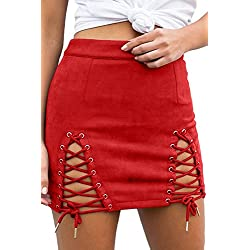 Laucote Oversized Womens Sexy High Waist Split Faux Suede Mini Skirt for Party Red XL