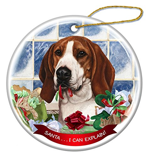 Tree Walker Coonhound Dog Porcelain Hanging Ornament Pet Gift 'Santa.. I Can Explain!' for Christmas Tree and Year Round