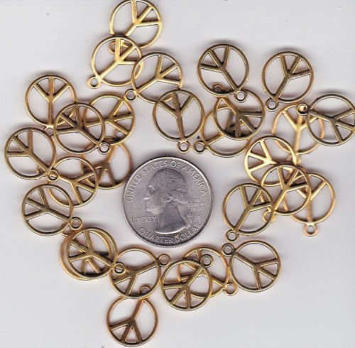 32 GOLD TONE PEACE SIGN METAL CHARMS Jewelry Making Supply Charms Wholesale by BP