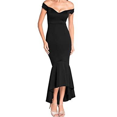SEBOWEL Womens Evening Dress Off Shoulder Flouncing Mermaid Formal Prom Gowns