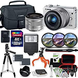 Canon EOS M100 Mirrorless Digital Camera (White) with 15-45mm STM Lens Kit with Premium Accessory Bundle