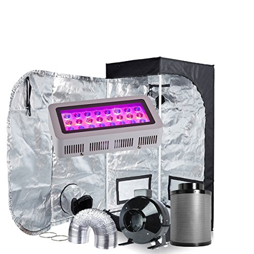 Box Grow System (Oppolite LED Grow Light Tent Kit Hydroponic Growing System LED300W Panel Lamp+4