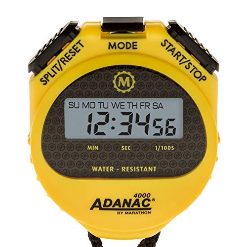 Marathon ST083009 Adanac 4000 Digital Stopwatch Timer with Extra Large Display and Buttons, Water Resistant, Two Year Warranty - Yellow (Stopwatch Handheld)
