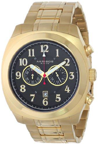 Akribos XXIV Men's AK624YG Ultimate Chronograph Gold-tone Stainless Steel Pillow-cut Bracelet Watch