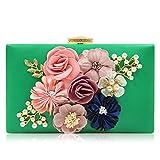 Milisente Evening Bag Clutches purse for Women, Floral Clutch Evening Shoulder Bags, Wedding Crossbody Handbags (Green)