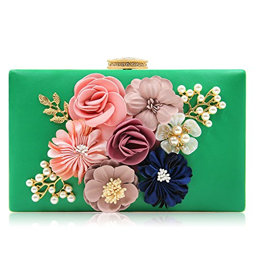 Milisente Evening Bag Clutches purse for Women, Floral Clutch Evening Shoulder Bags, Wedding Crossbody Handbags (Green)