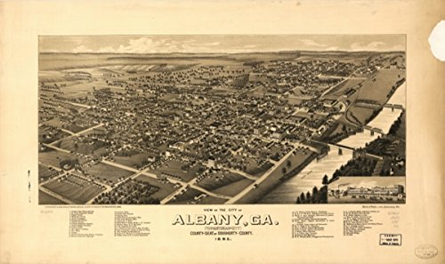 Map: 1885 View of the city of Albany, Ga. (the Artesian City) county-seat of Dougherty-County. 1885|Albany|Albany Ga|Georgia|