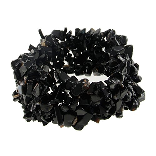 Pearlz Ocean Black Onyx Chips Stretch Bracelet Made of Gemstone Bead Fashion for Women