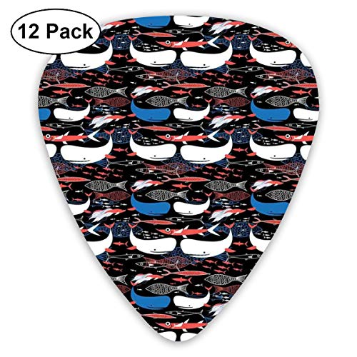 Celluloid Guitar Picks - 12 Pack,Abstract Art Colorful Designs,Underwater Wildlife Silhouettes And Outlines Of Different Fishes,For Bass Electric & Acoustic Guitars.