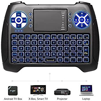 ac424145cf9 (2019 Latest, Backlit) ANEWISH 2.4GHz Mini Wireless Keyboard with Touchpad  Mouse Combo, Rechargable Li-Ion Battery & Multi-Media Handheld Remote for  Google ...