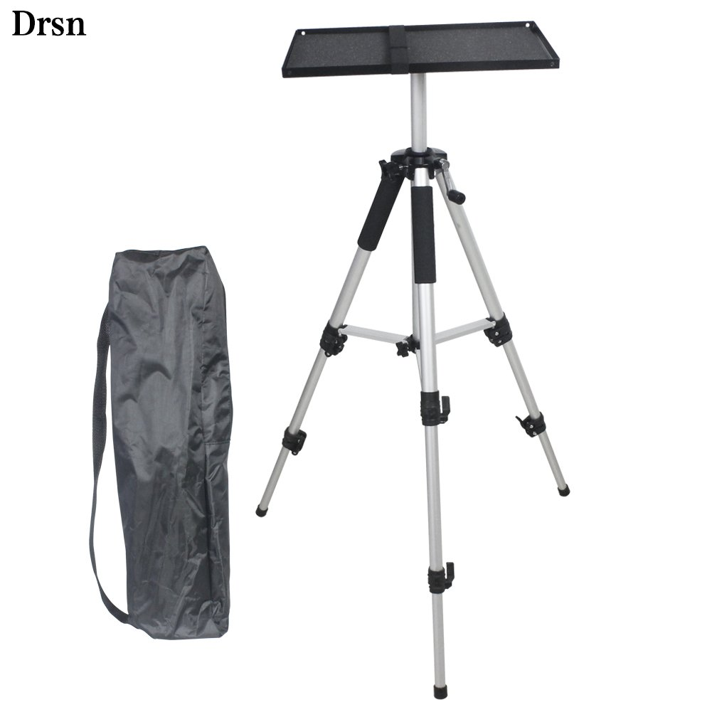 Drsn Universal Aluminum Laptop Projector Tripod Stand Tray Height Adjustable 18.7-55.12 inch DJ Equipment Tripod Holder Mount Sliver Office, Home, Business Stage Studio Storage Bag