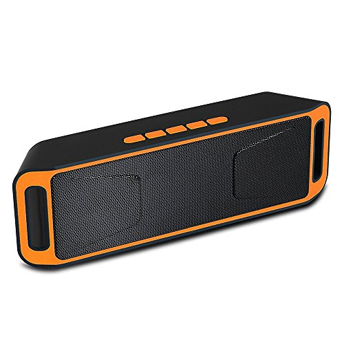 Portable Bass Dual Stereo Speaker Wireless Bluetooth Speaker Support Handsfree FM Radio AUX USB TF Card Mic for IOS Android Phone (Orange&Black)