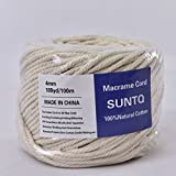 (4mm x 100m(about 109 yd)) Handmade Decorations Natural Cotton Bohemia Macrame DIY Wall Hanging Plant Hanger Craft Making Knitting Cord Rope Natural Color Beige