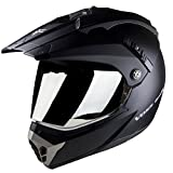Voss 600 Dually Dual Sport Helmet with Integrated Sun Lens and Removable Peak. Chrome Outer Face Shield also Included. DOT - XXL - Matte Black